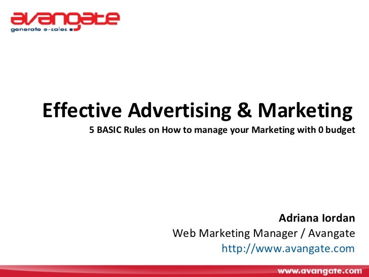 Effective Advertising and Marketing