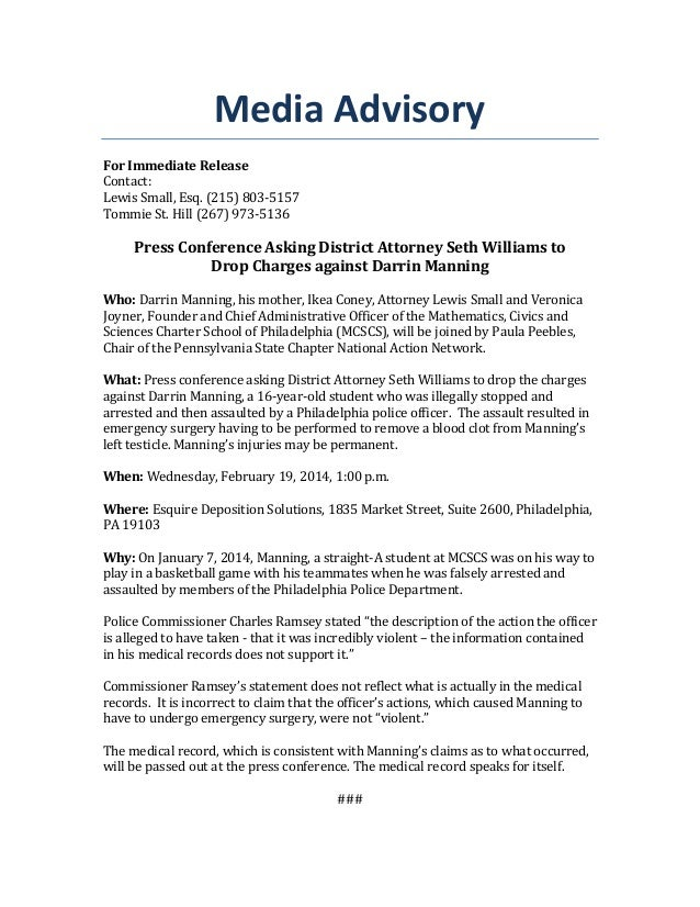 Media Advisory - Press Conference Calling on DA Seth Williams to Drop Charges against Darrin Manning