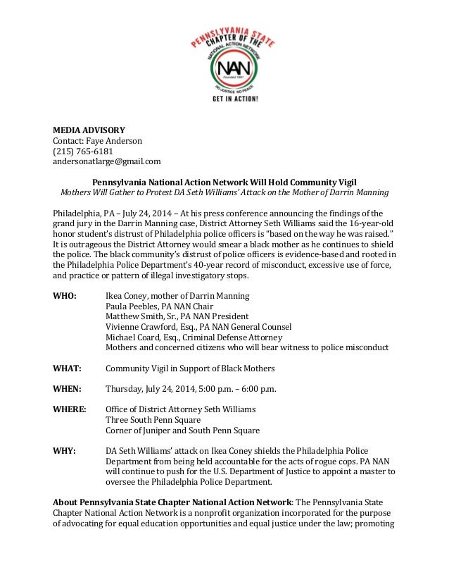 Pennsylvania National Action Network Community Vigil in Support of Black Mothers