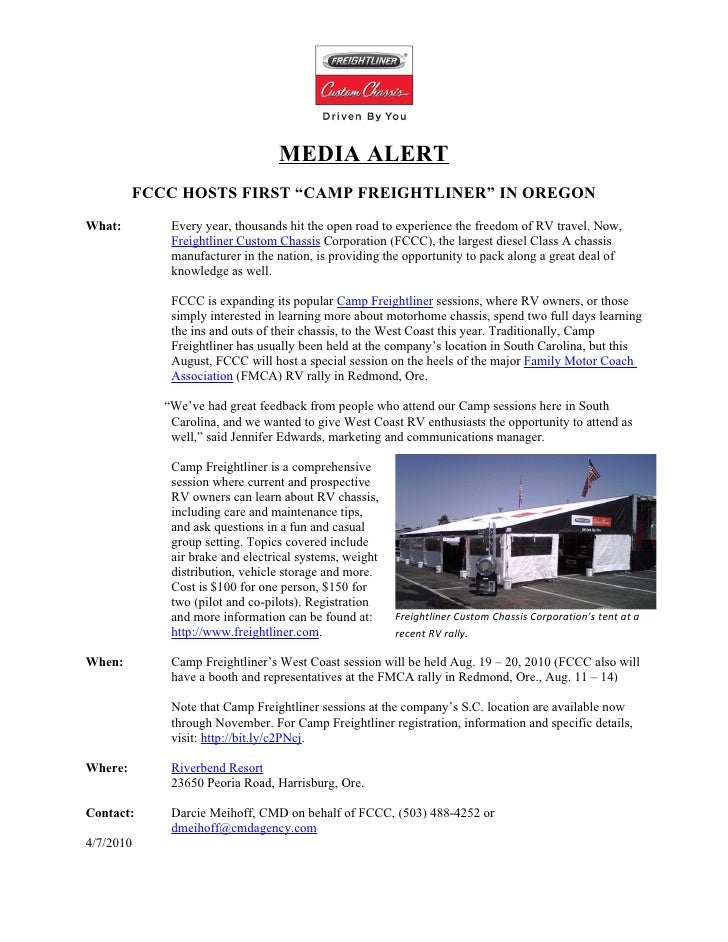 """MEDIA ALERT          FCCC HOSTS FIRST """"CAMP FREIGHTLINER"""" IN OREGON What:        Every year, thousands hit the open road t..."""