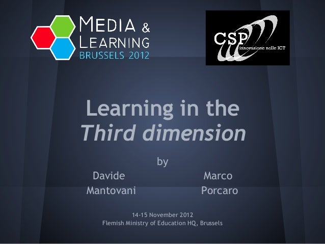 M&L 2012 - 3D and learning - by Mantovani, Porcaro