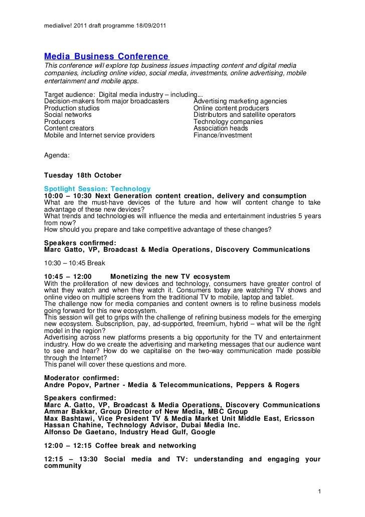 MediaLive! 2011 Complete information Doc