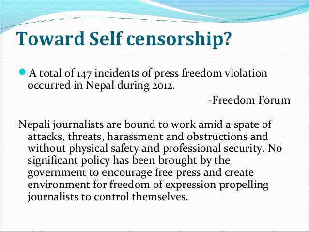 freedom of expression vs censorship policy media essay Censorship vs freedom of speech - all forms of expression should be allowed, whether it's it is in the guise of speech, art, symbolism, or any other form of the freedom granted by the first amendment.