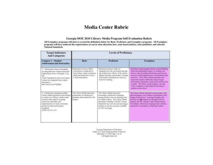 Media Center Rubric