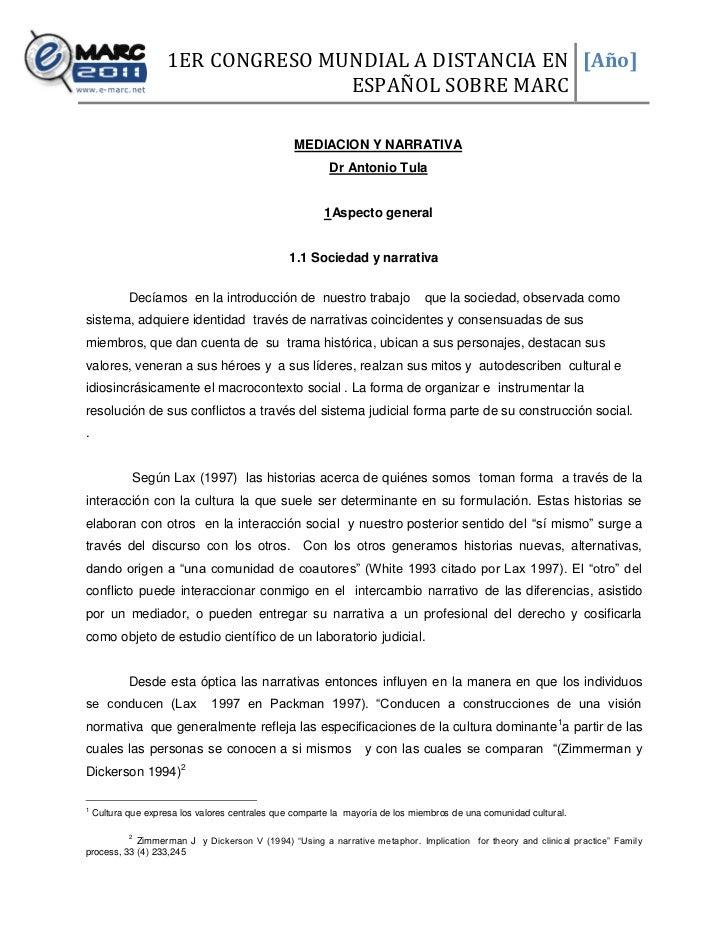 1ER CONGRESO MUNDIAL A DISTANCIA EN [Año]                                    ESPAÑOL SOBRE MARC                           ...