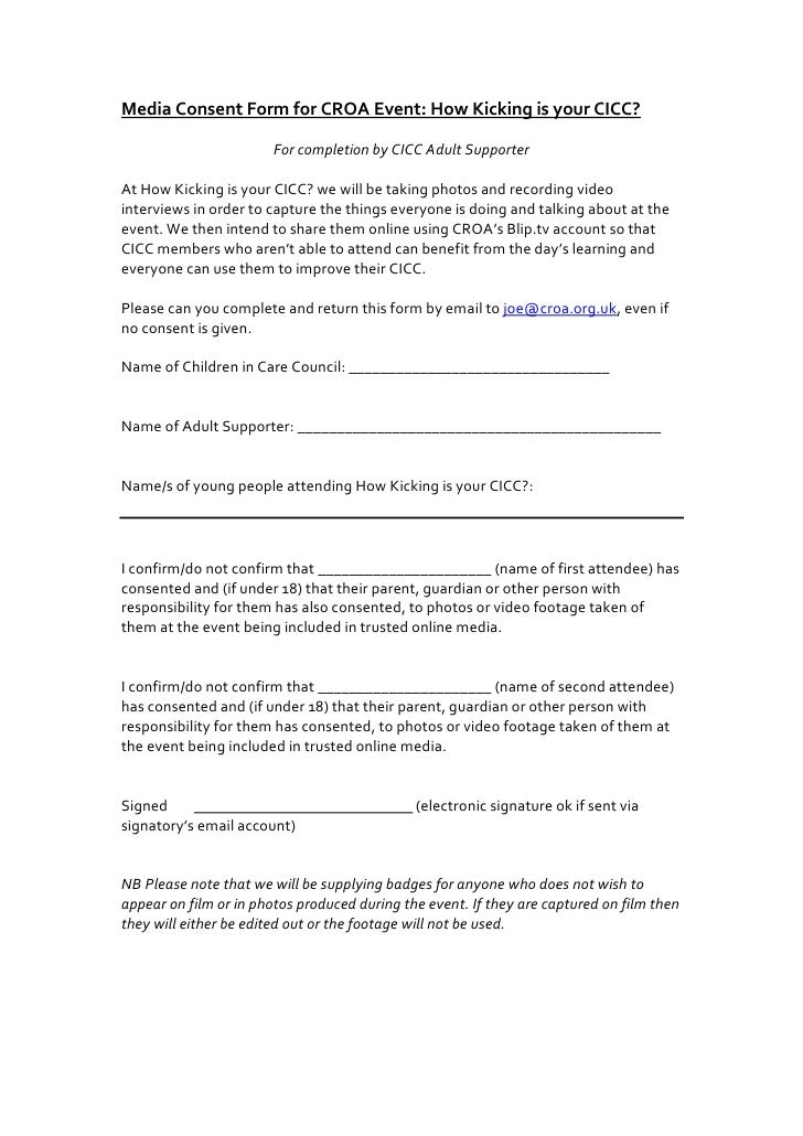 Media consent form for how kicking is your cicc
