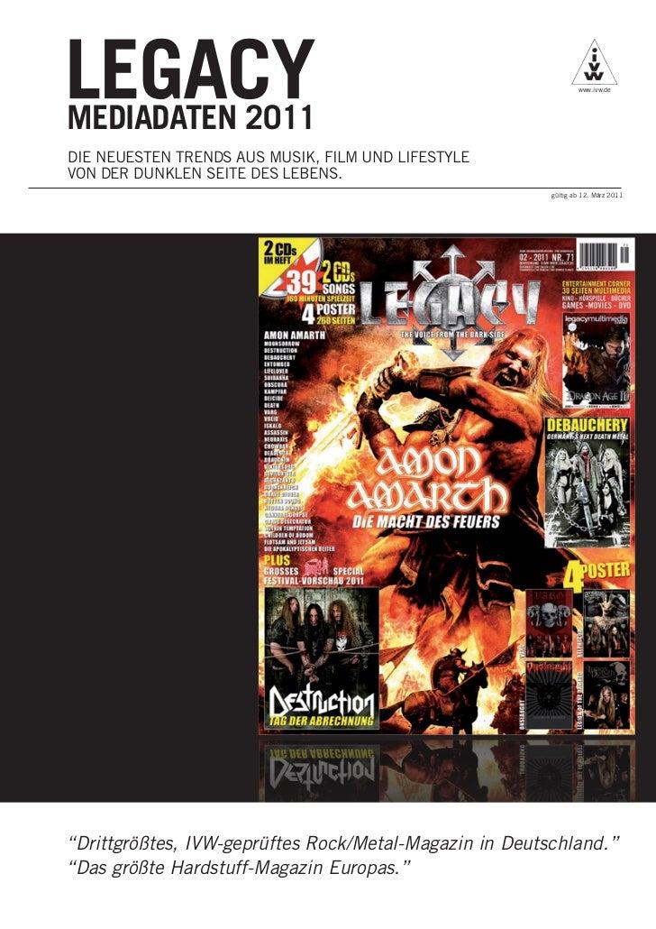 www.ivw.deMEDIADATEN 2011DIE NEUESTEN TRENDS AUS MUSIK, FILM UND LIFESTYLEVON DER DUNKLEN SEITE DES LEBENS.               ...