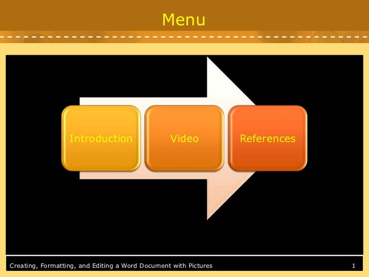 Menu                  Introduction                   Video            ReferencesCreating, Formatting, and Editing a Word D...