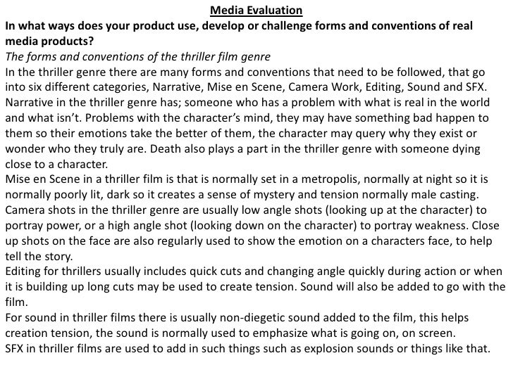 Media Evaluation<br />In what ways does your product use, develop or challenge forms and conventions of real media product...