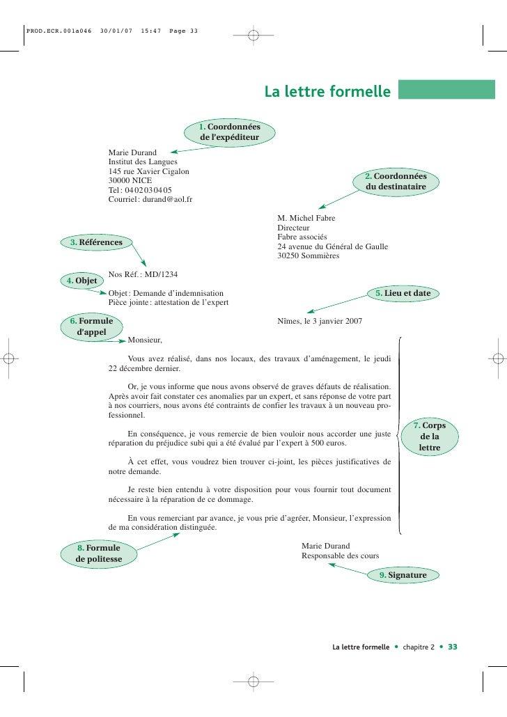 exemple de lettre formelle