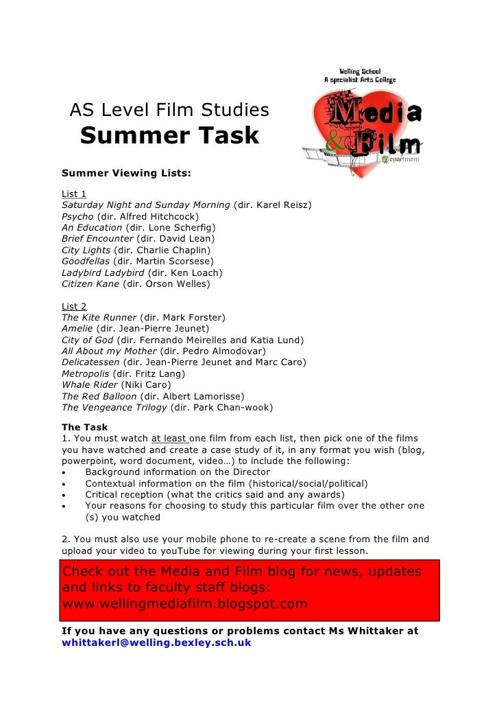 Media film summer tasks and equipment list 2012
