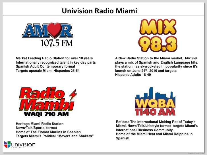 Univision radio miamimarket leading radio station for over 10 years
