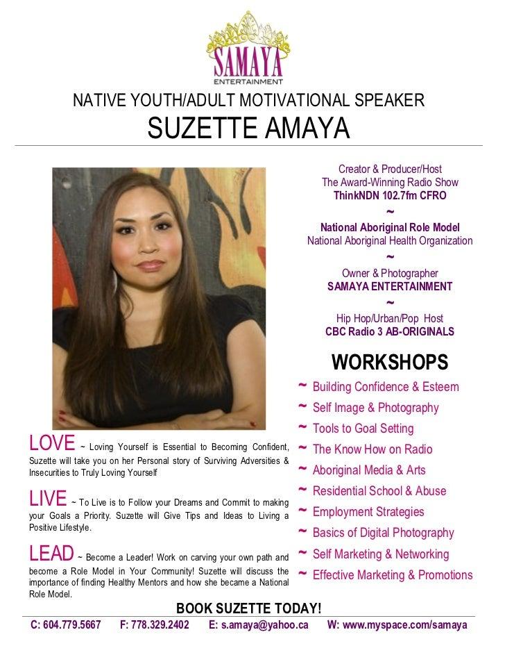 NATIVE YOUTH/ADULT MOTIVATIONAL SPEAKER                               SUZETTE AMAYA                                       ...