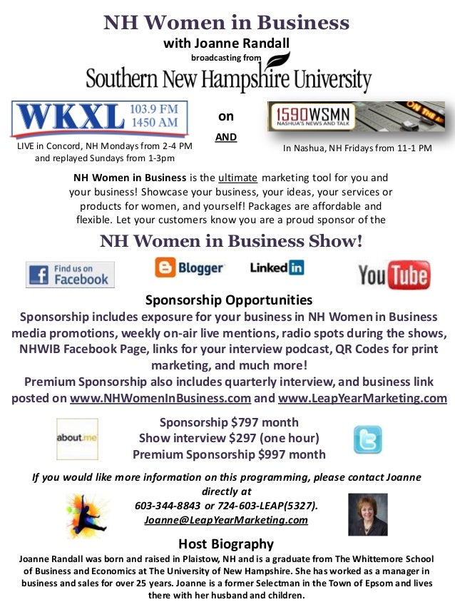 NH Women in Business                                   with Joanne Randall                                         broadca...