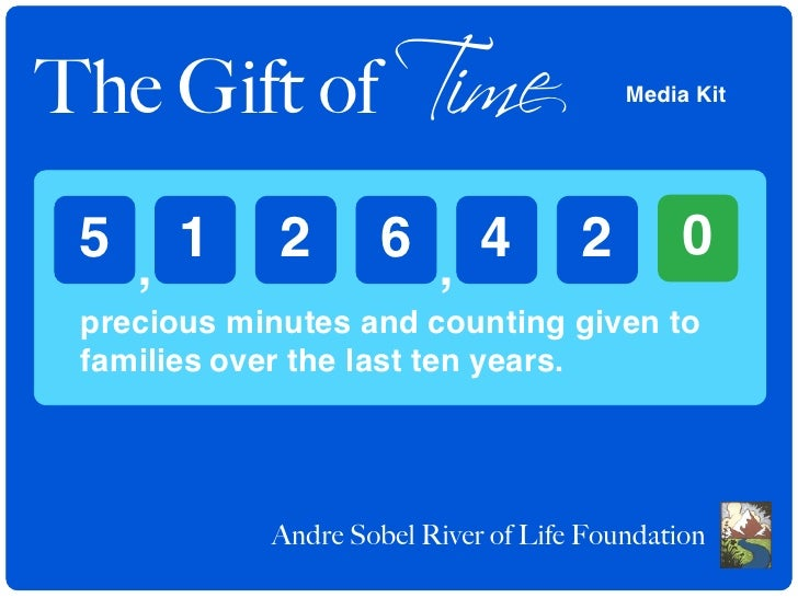 The Gift of Time                         Media Kit      5 , 1       2       6 , 4           2        0  precious minutes a...