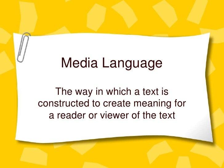 Media language lesson