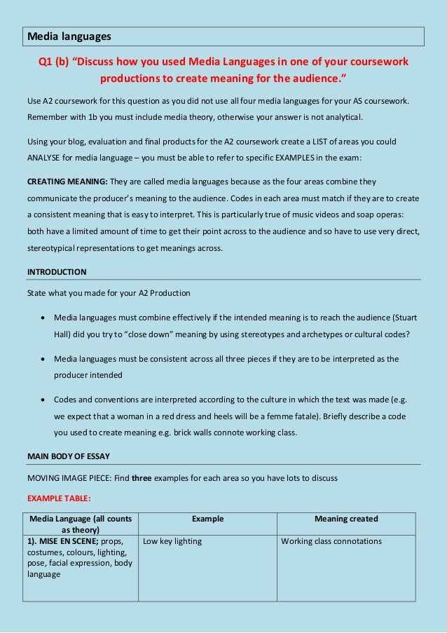 1b. Media Languages essay plan and theory