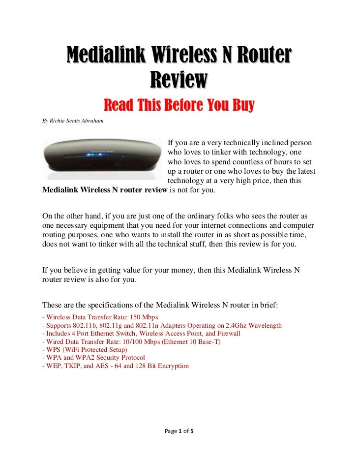 Medialink Wireless N Router                   Review                           Read This Before You BuyBy Richie Scotts Ab...