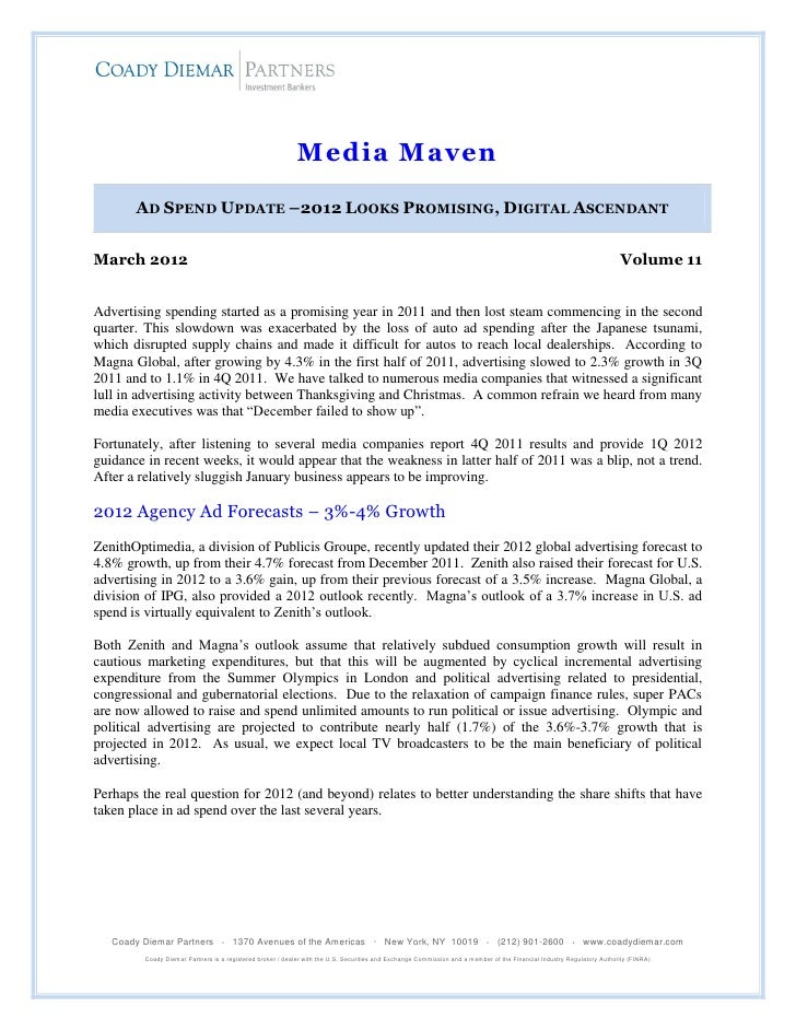 Media Maven: Ad Outlook March 2012