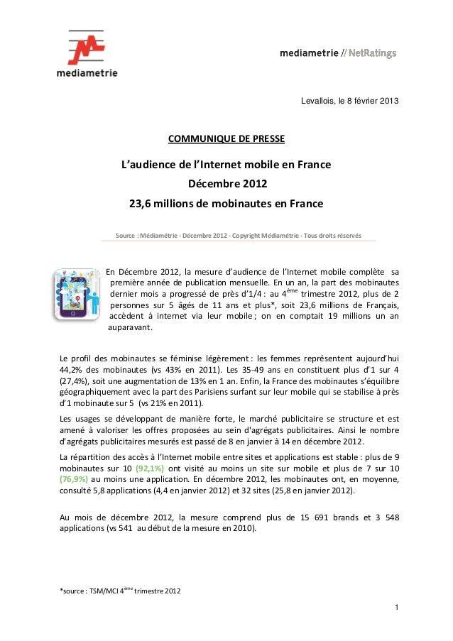 Levallois, le 8 février 2013                                      COMMUNIQUE DE PRESSE                  L'audience de l'In...