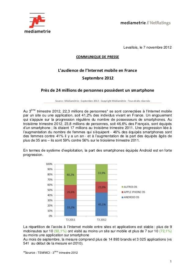 Levallois, le 7 novembre 2012                                        COMMUNIQUE DE PRESSE                        L'audienc...