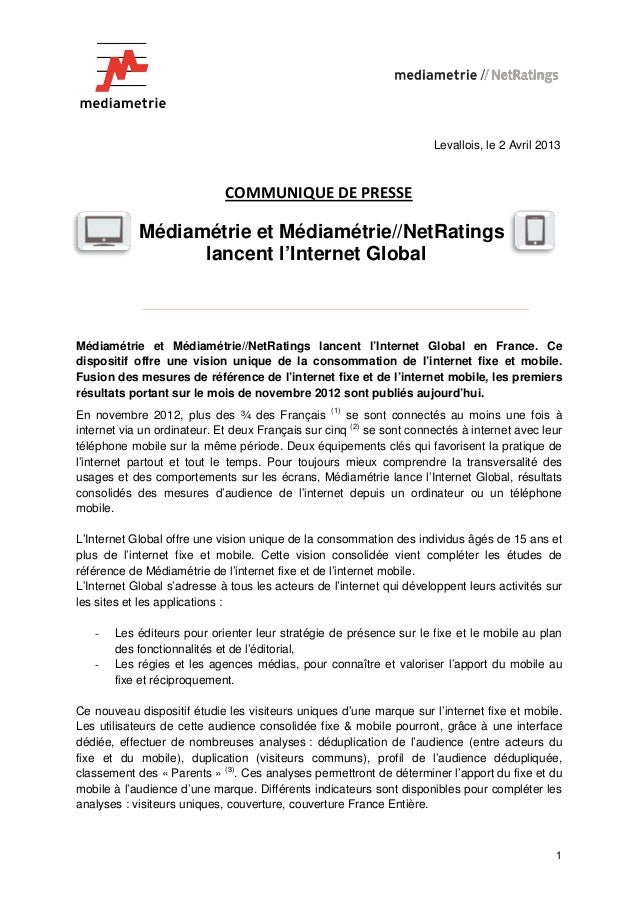 Levallois, le 2 Avril 2013                             COMMUNIQUE DE PRESSE            Médiamétrie et Médiamétrie//NetRati...