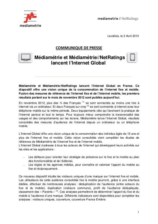 Médiamétrie et Médiamétrie//NetRatings lancent l'Internet Global en France