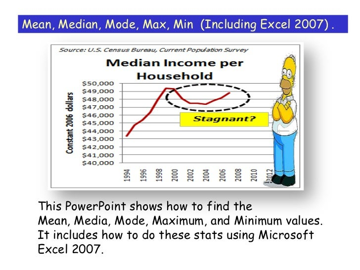 Mean, Median, Mode, Max, Min (Including Excel 2007) .  This PowerPoint shows how to find the  Mean, Media, Mode, Maximum, ...