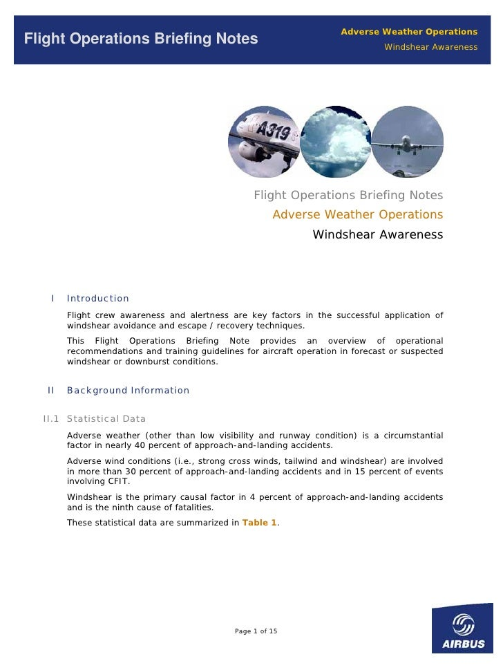 Adverse Weather Operations Flight Operations Briefing Notes                                                 Windshear Awar...