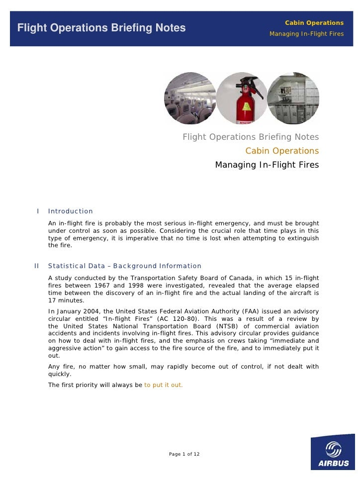 Cabin Operations Flight Operations Briefing Notes                                                  Managing In-Flight Fire...