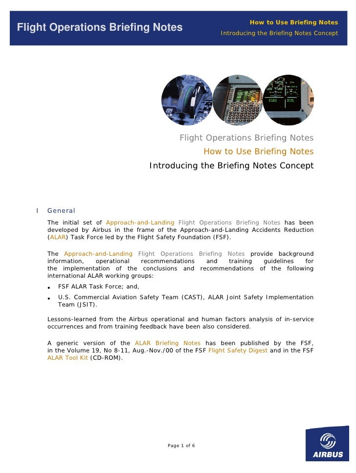 How to Use Briefing Notes Flight Operations Briefing Notes                              Introducing the Briefing Notes Con...