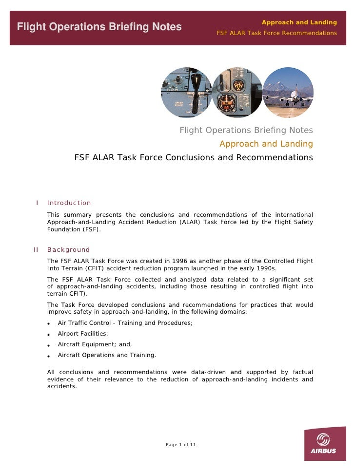 Approach and Landing Flight Operations Briefing Notes                               FSF ALAR Task Force Recommendations   ...