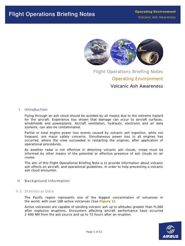 Operating Environment Flight Operations Briefing Notes                                                  Volcanic Ash Aware...