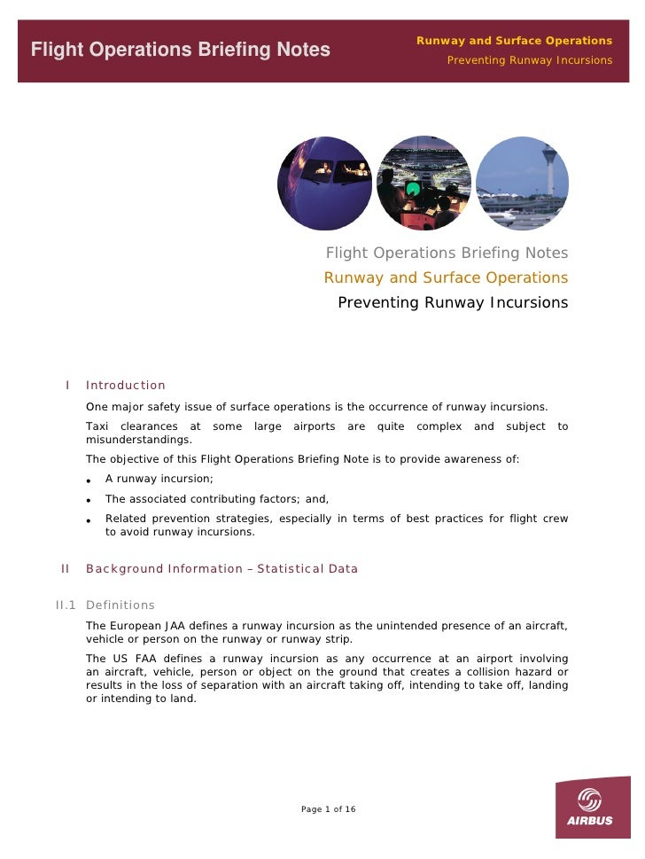 Runway and Surface Operations Flight Operations Briefing Notes                                              Preventing Run...