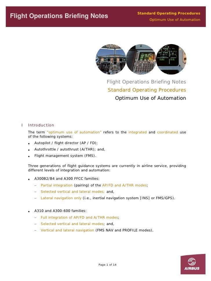 Standard Operating Procedures Flight Operations Briefing Notes                                             Optimum Use of ...