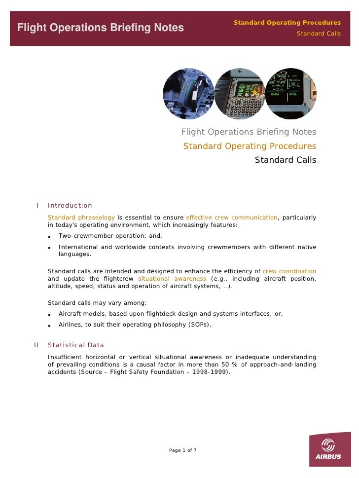 Standard Operating Procedures Flight Operations Briefing Notes                                                        Stan...