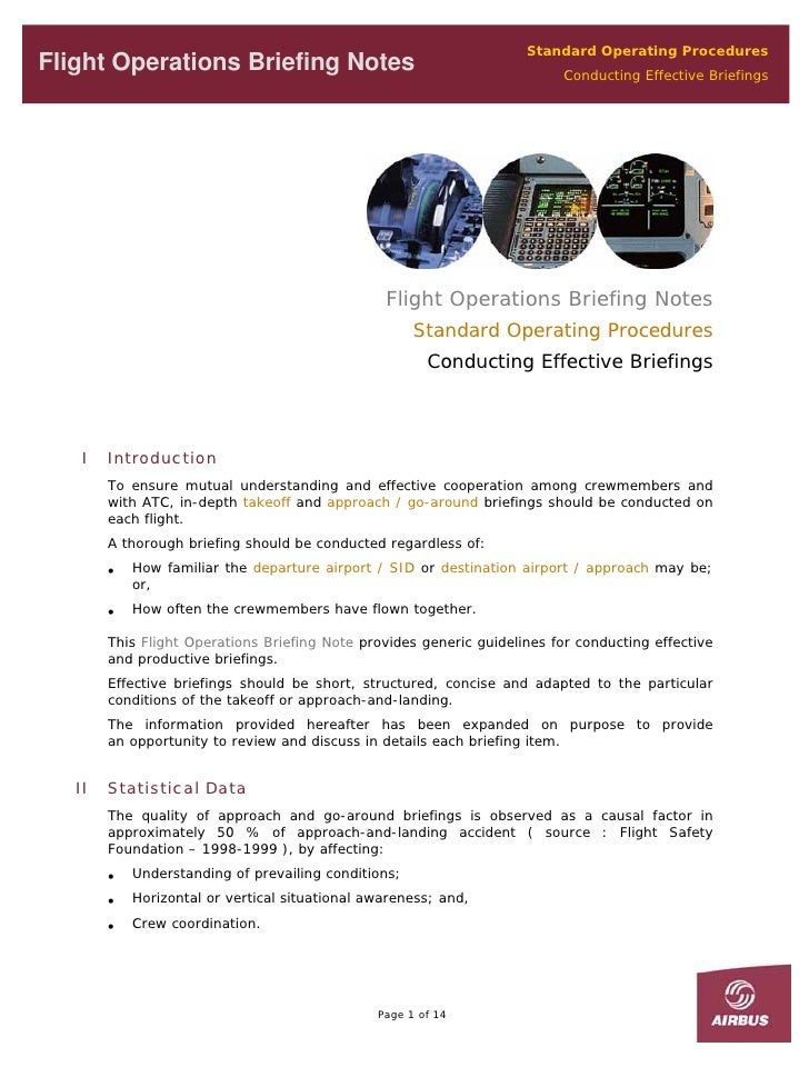 Standard Operating Procedures Flight Operations Briefing Notes                                           Conducting Effect...