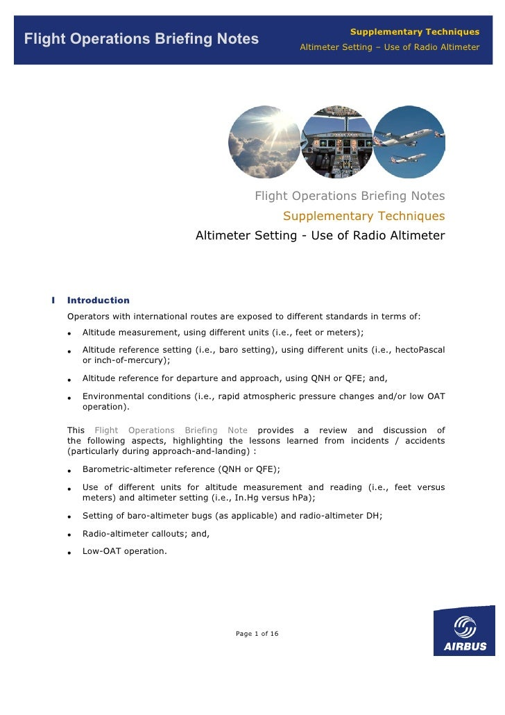 Supplementary Techniques Flight Operations Briefing Notes                                 Altimeter Setting – Use of Radio...