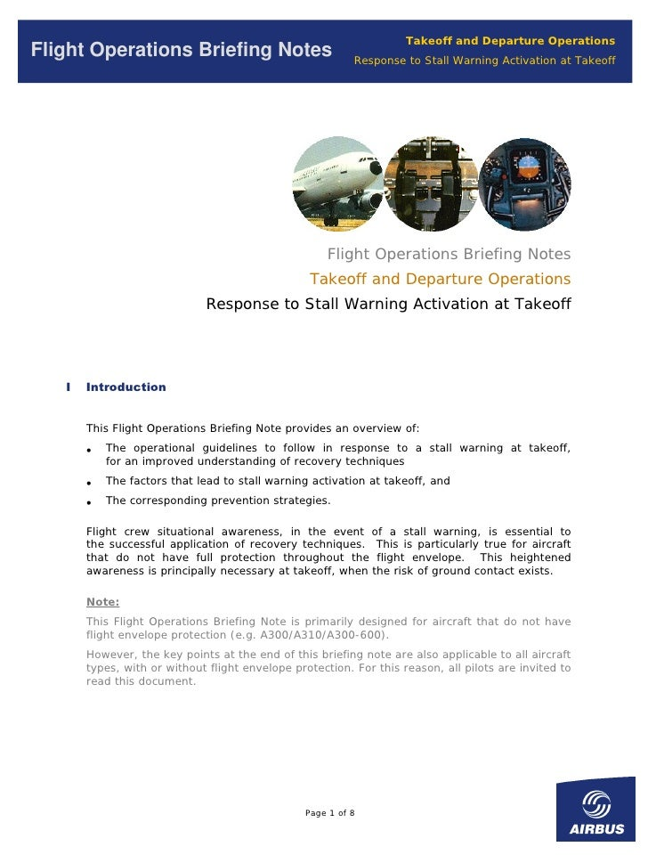 Takeoff and Departure Operations Flight Operations Briefing Notes                           Response to Stall Warning Acti...