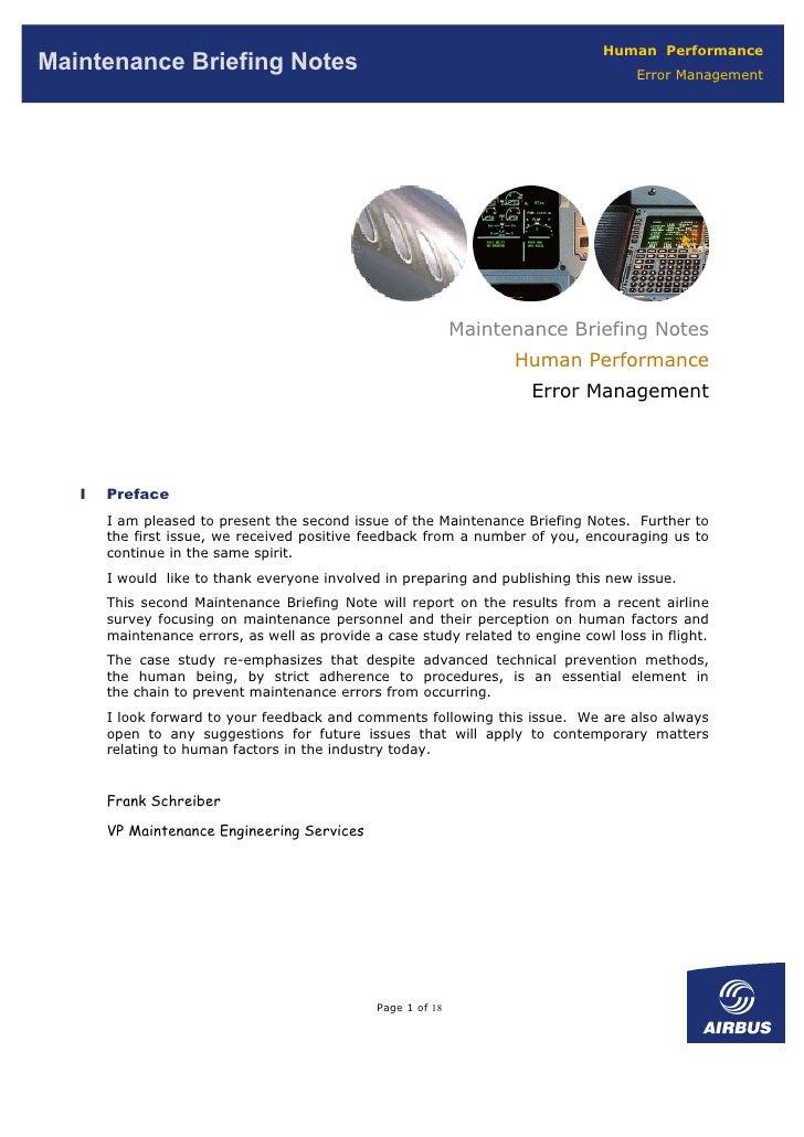 Human Performance Maintenance Briefing Notes                                                            Error Management  ...