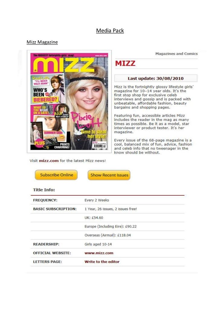Media PackMizz Magazine