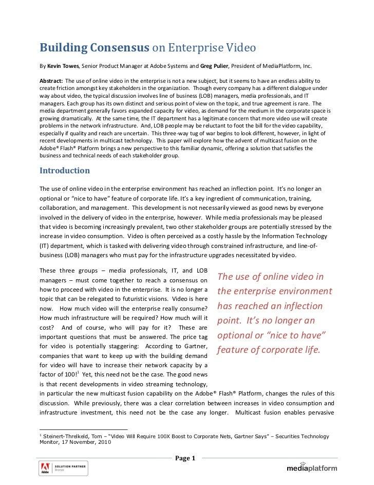 Building Consensus on Enterprise Video