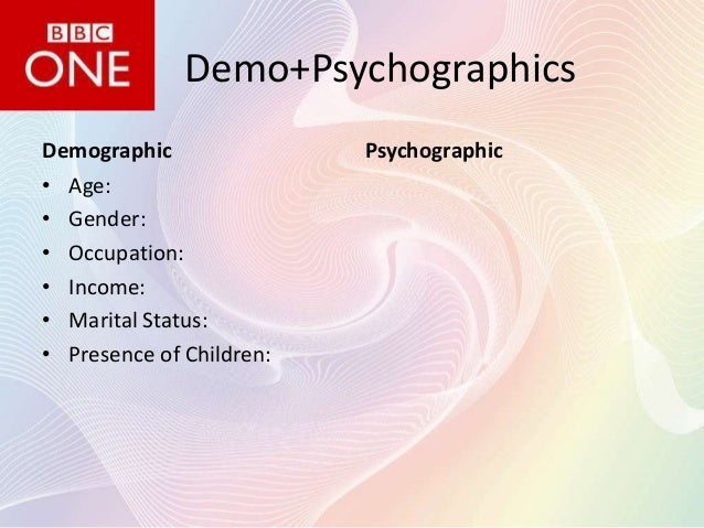 Demo+Psychographics Demographic • Age: • Gender: • Occupation: • Income: • Marital Status: • Presence of Children:  Psycho...
