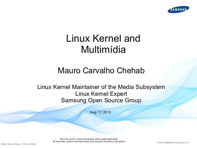 Linux Kernel and Multimídia Mauro Carvalho Chehab Linux Kernel Maintainer of the Media Subsystem Linux Kernel Expert Samsu...