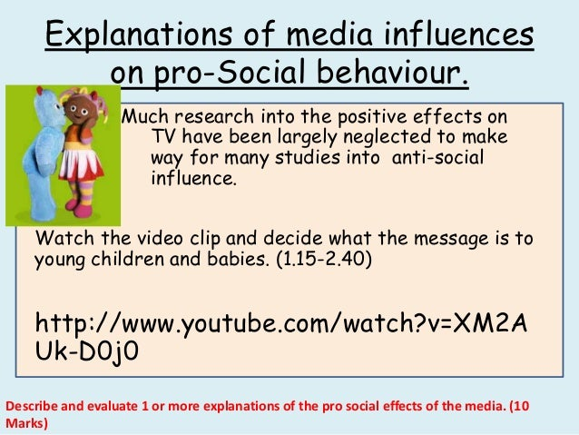 does media influence social behavior essay The influence of the media on antisocial behavior there are many studies and examples to indicate that the amount of violence children witness on television or see through other forms of media are reflected in their own levels of aggression and violence.