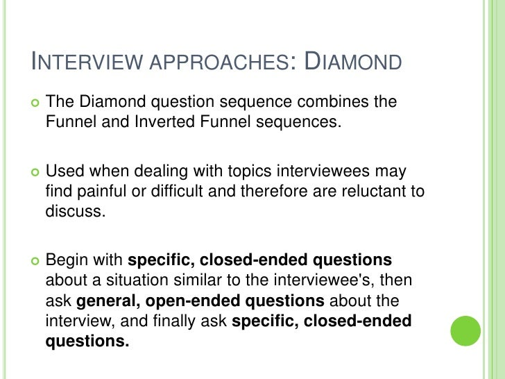 what are pyramid funnel and diamond interview techniques Posted by art diamond at 1:01 am | permalink | comments (0)  and rising trade  winds that have helped funnel atmospheric heat into the ocean  in complex  transactions, we then must rely on intermediaries to give us advice  and  careful thinking than cannot fit into an op-ed or television interview.
