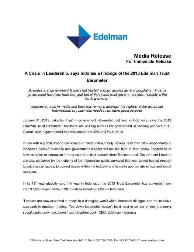 Media release 2013 edelman trust barometer   crisis in leadership (fin eng)
