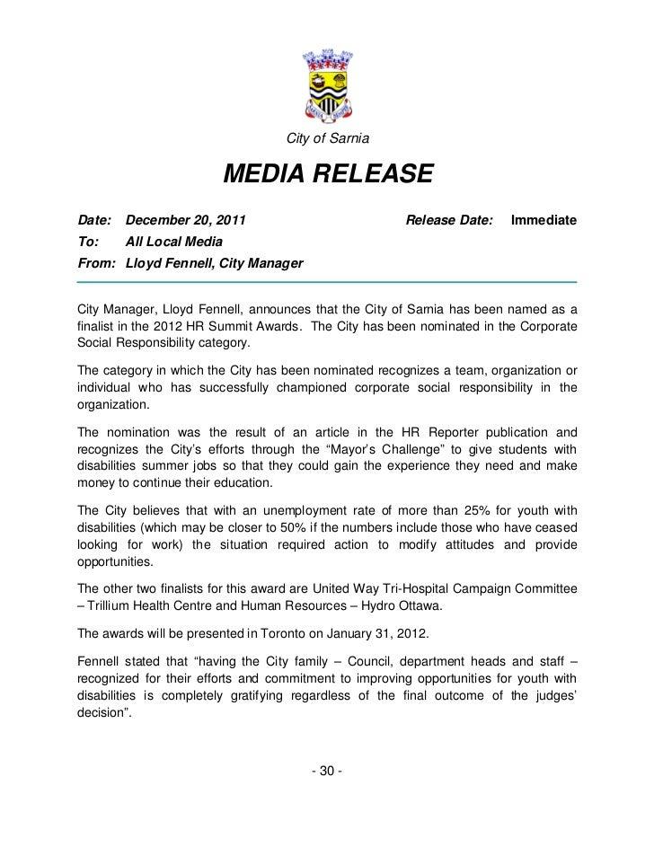 City of Sarnia                        MEDIA RELEASEDate:   December 20, 2011                              Release Date:   ...