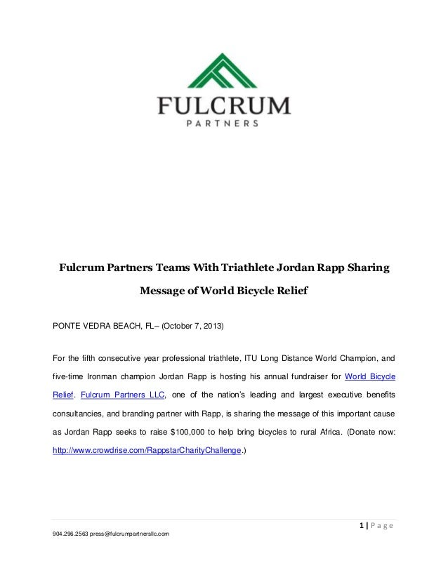Fulcrum Partners Teams With Triathlete Jordan Rapp Sharing Message of World Bicycle Relief