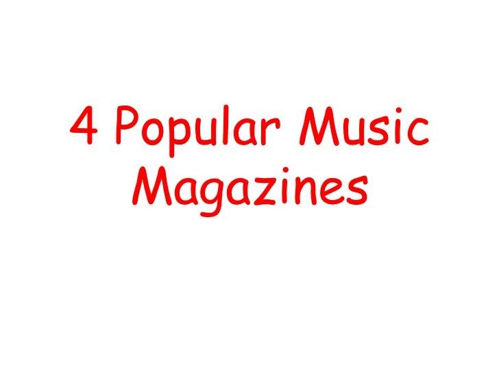 Media Music Magazine Analysis